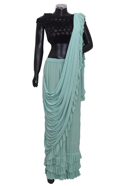 Ruffle saree with embroidered blouse #fdn2010-601