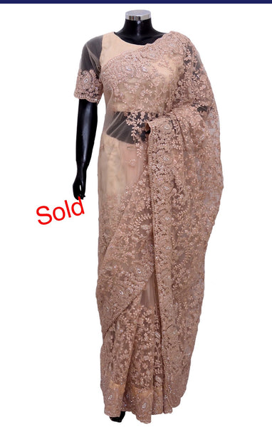 Net embroidered saree #fdn2007-601