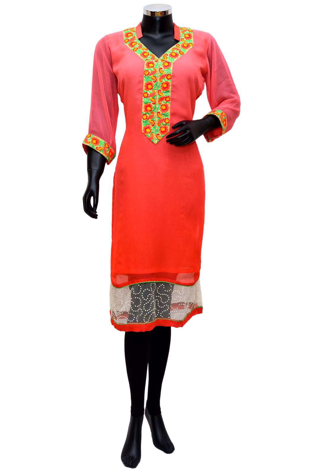 Pink embroidered kurti # fdn0270