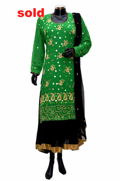 Green and black embroidered dress #fdn0245