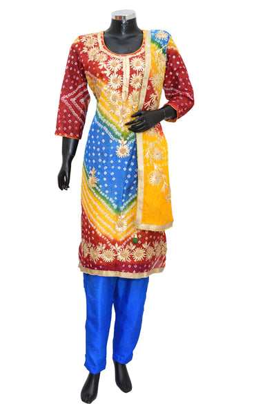 Artsilk bandheni embroidered suit #fdn4058-201