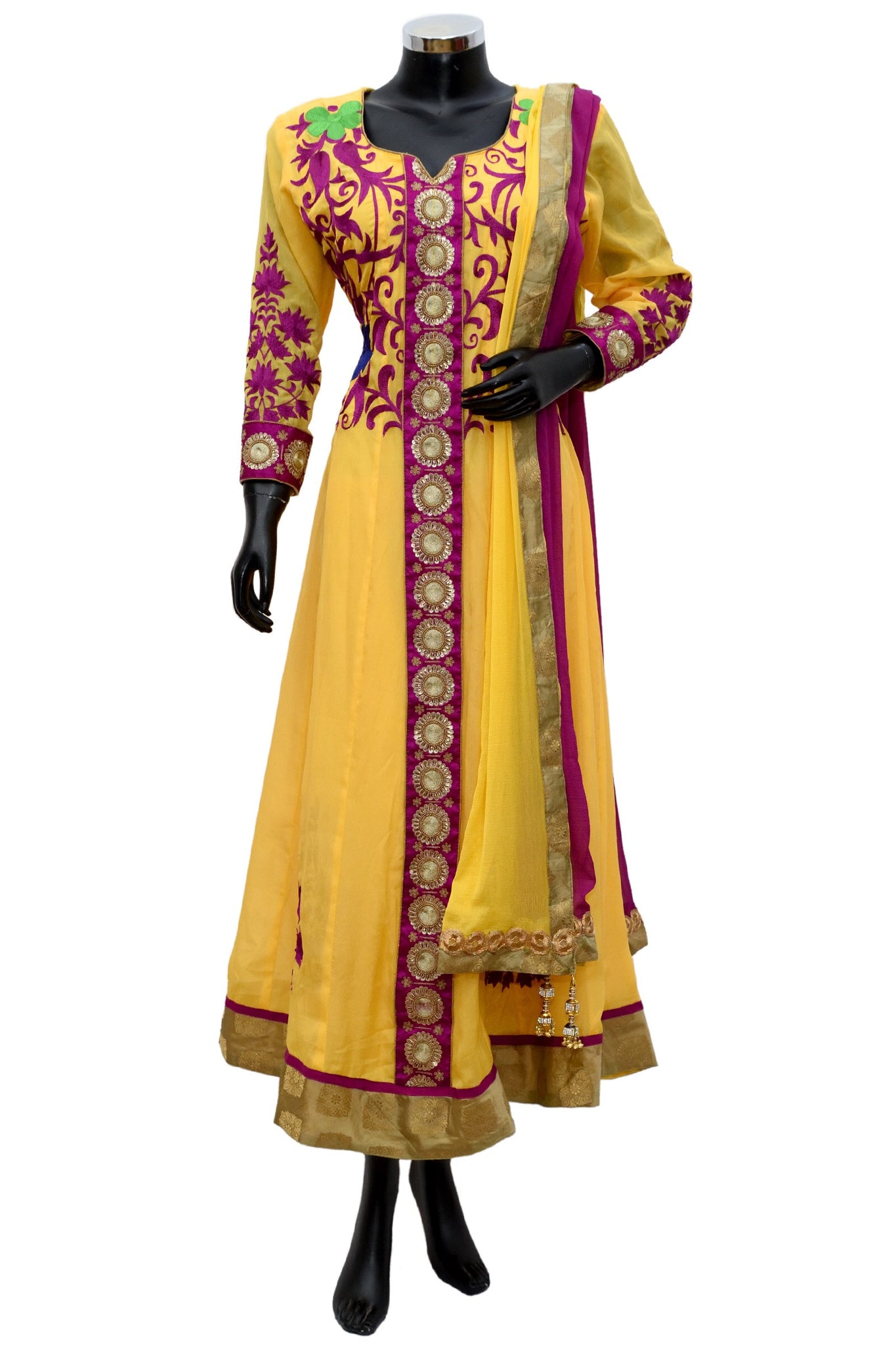 Embroidered dress in red and yellow fdn0531-921