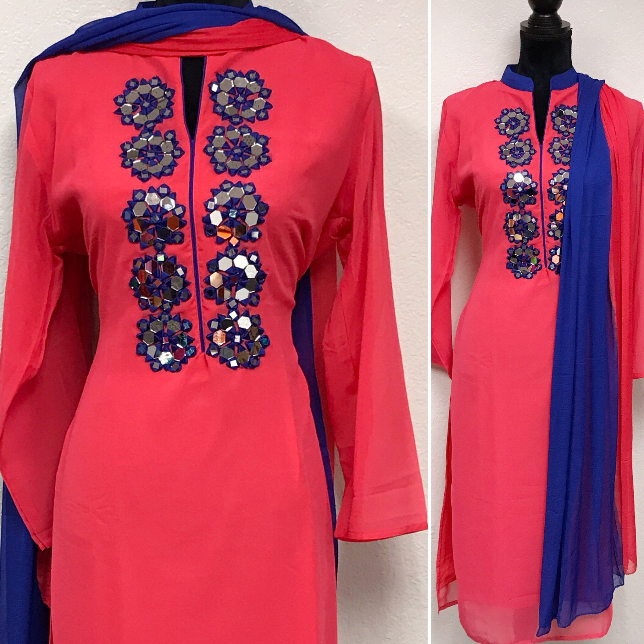 Pink color mirror work embroidered kurta  # fdn0216