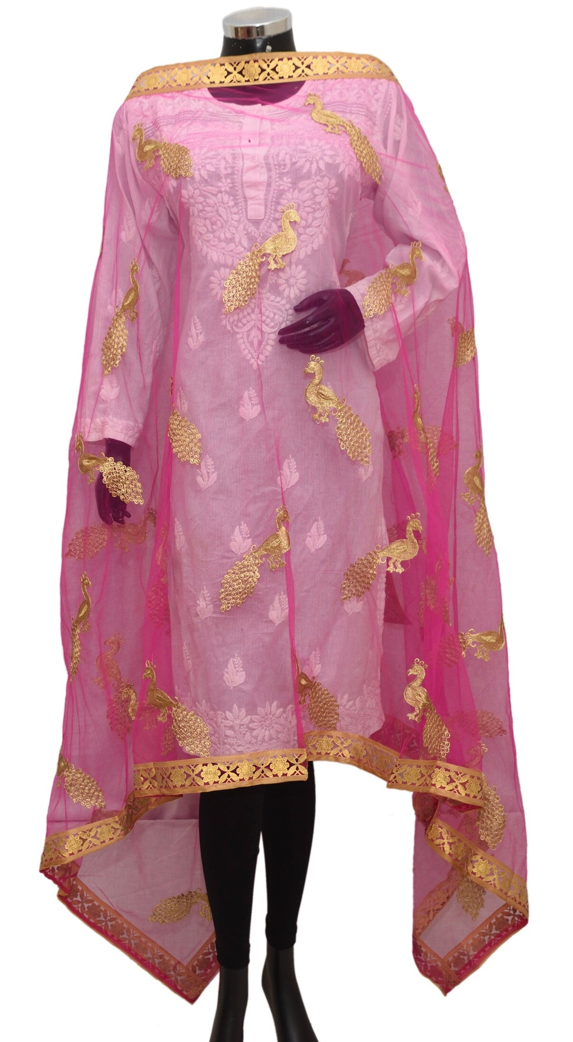 Pink net embroidered dupatta fdn1385-141