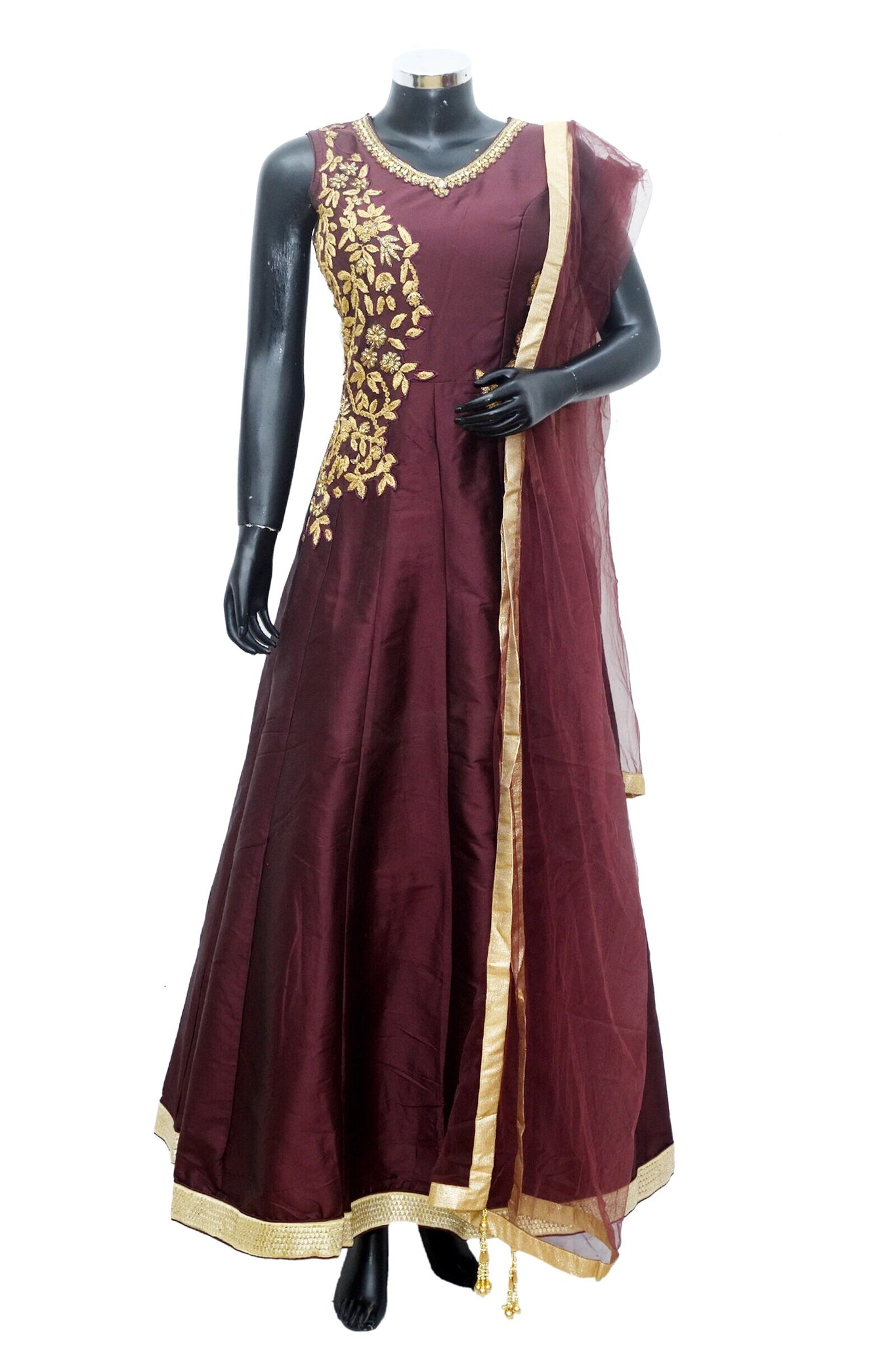 Vine color embroidered gown #fdn885-631