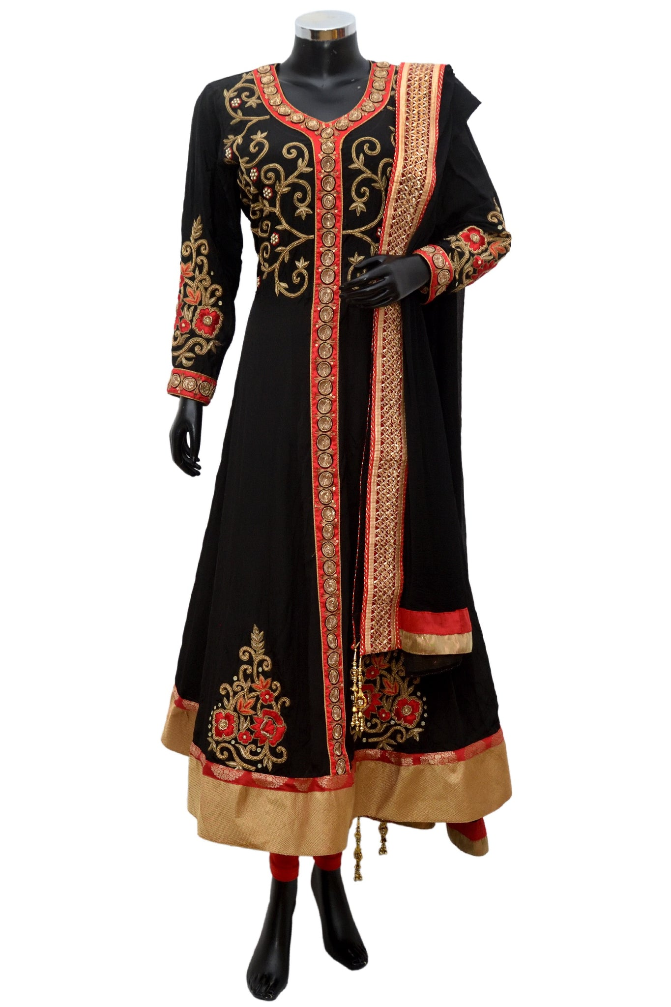 Black and red long embroidered suit #fdn856-791