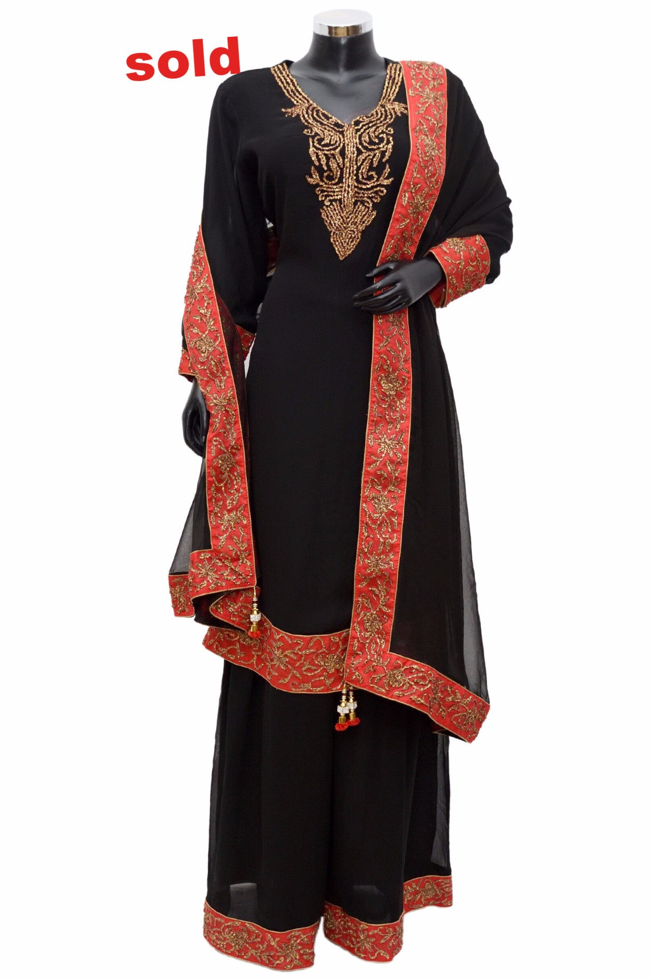 Black and red sharara set #fdn0504 / 62