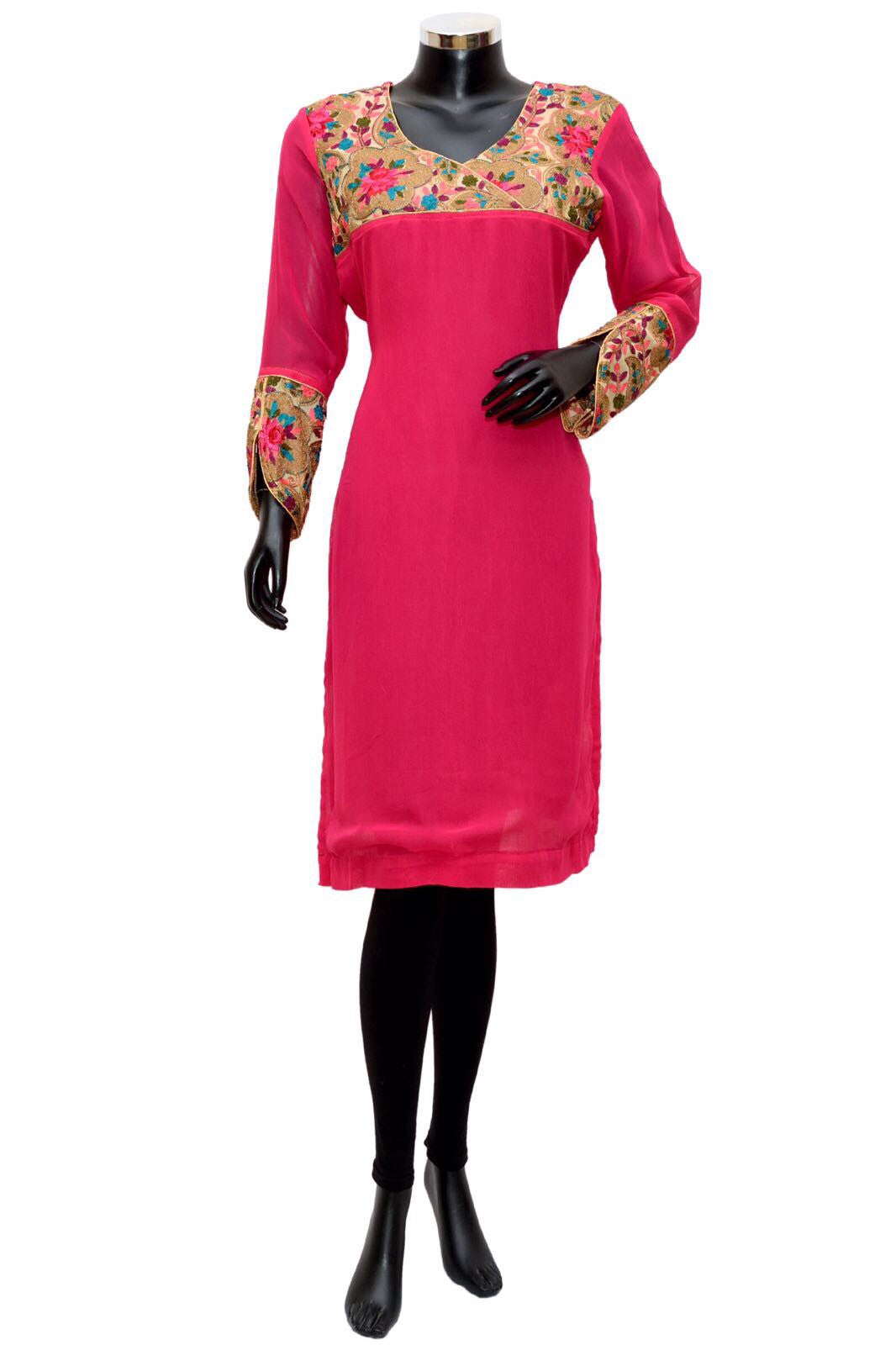 A bright pink embroidered kurta #fdn0367 /10