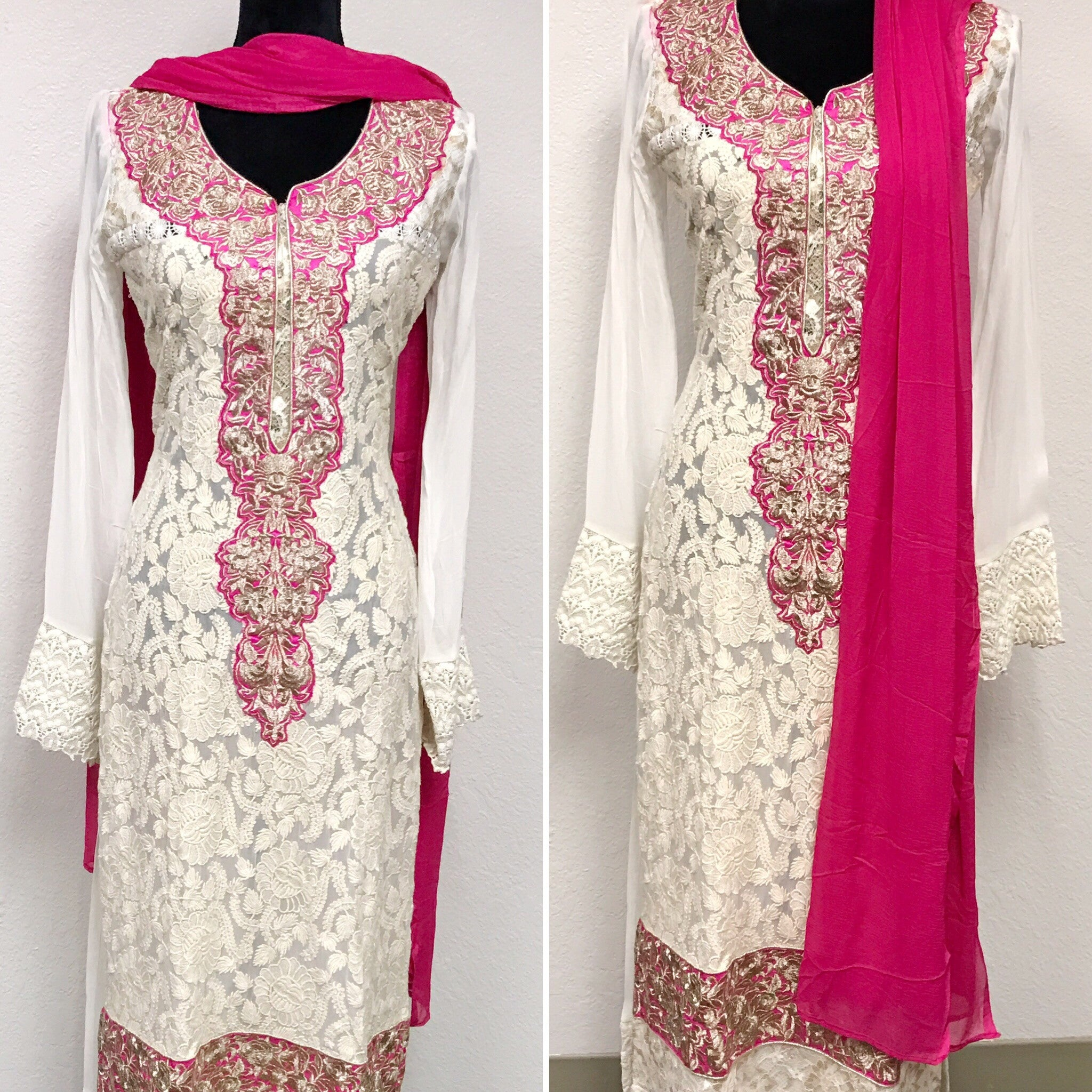 White and Pink color embroidered Suit #FDN0031 a