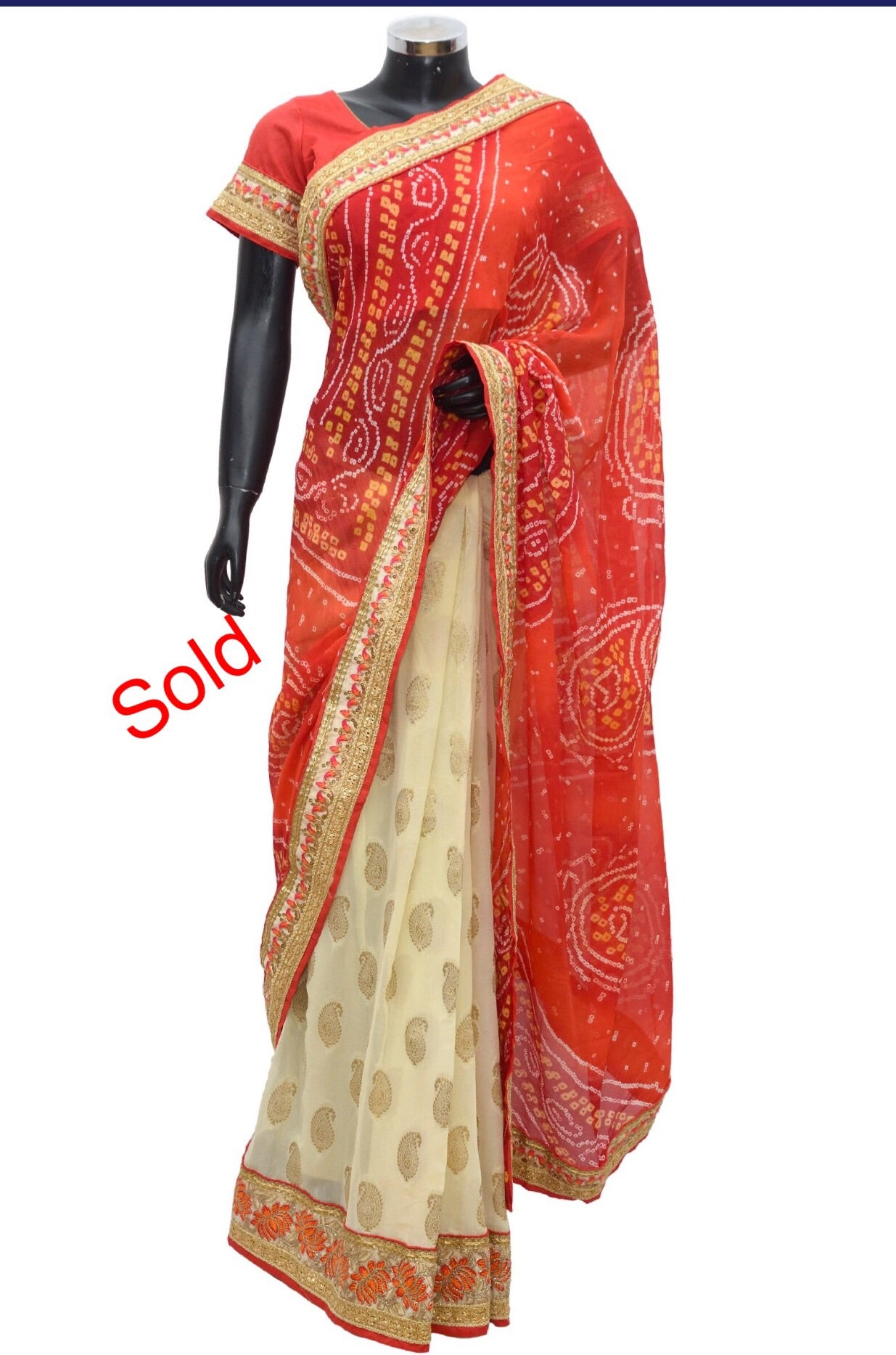Embroidered bandheni saree fdn1018-451