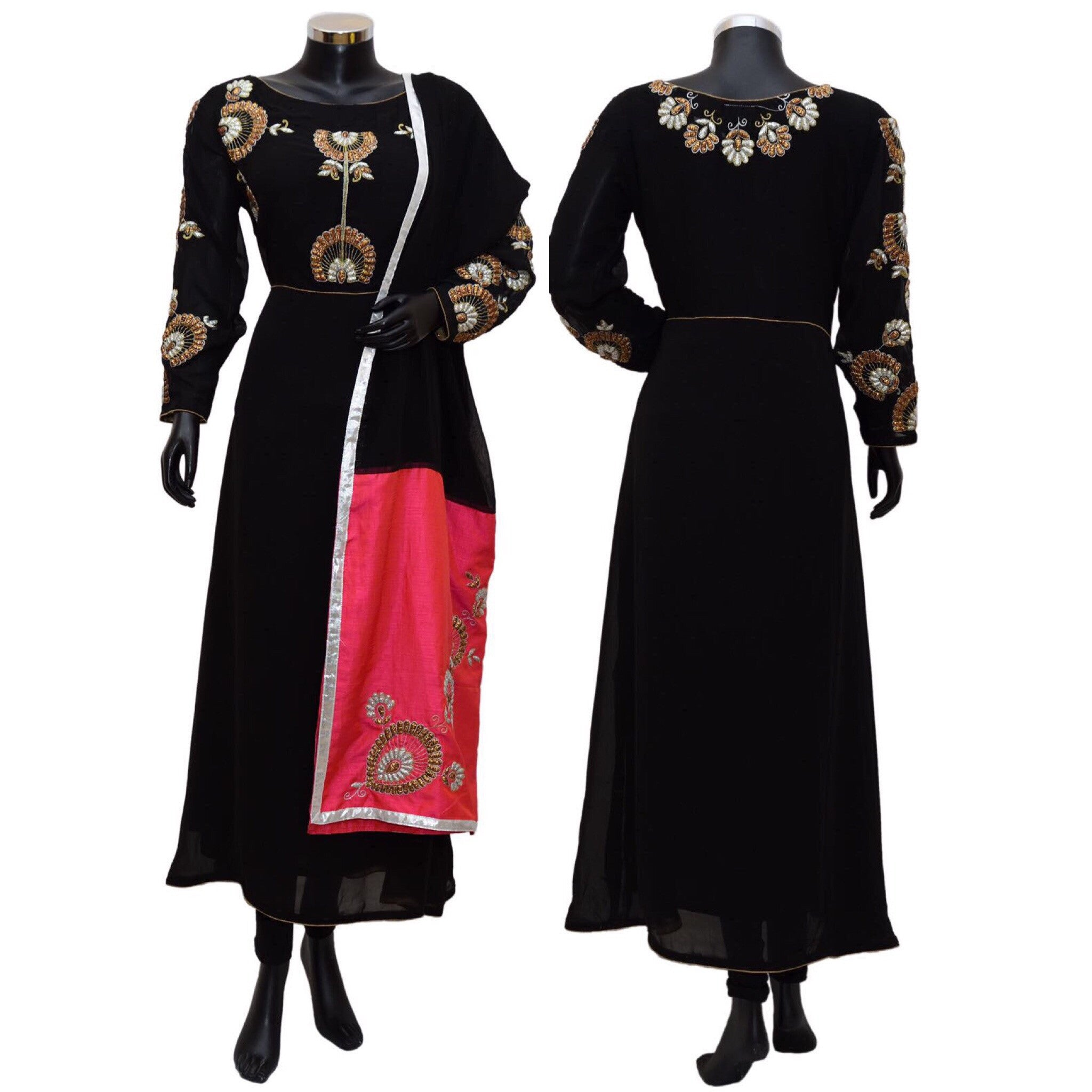 Black embroidered dress #fdn0407