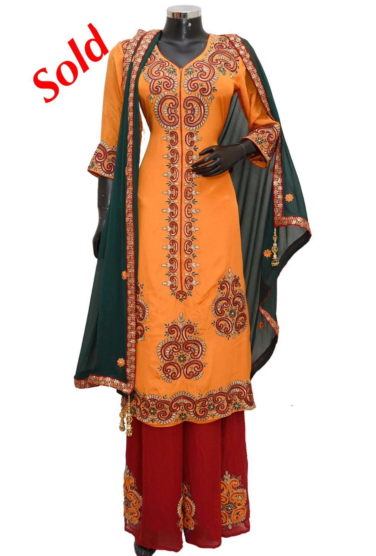 Embroidered party wear dress fdn1355-1041