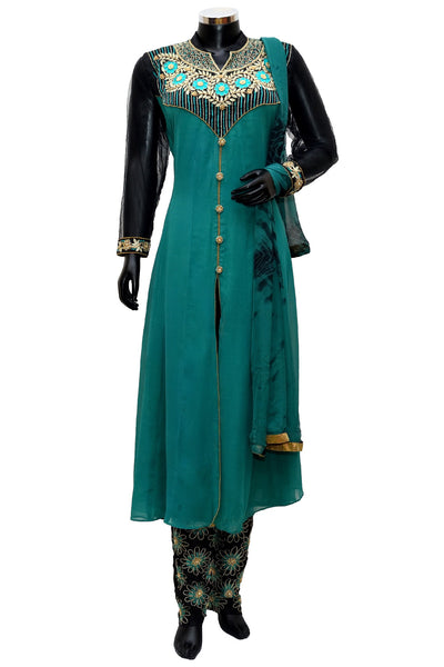 Green embroidered dress #fdn0247