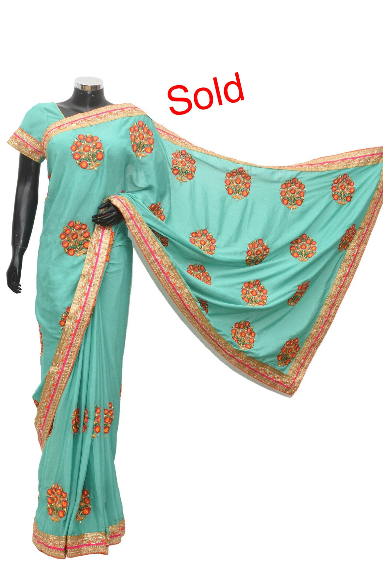 A mint green color silk saree #fdn912-331
