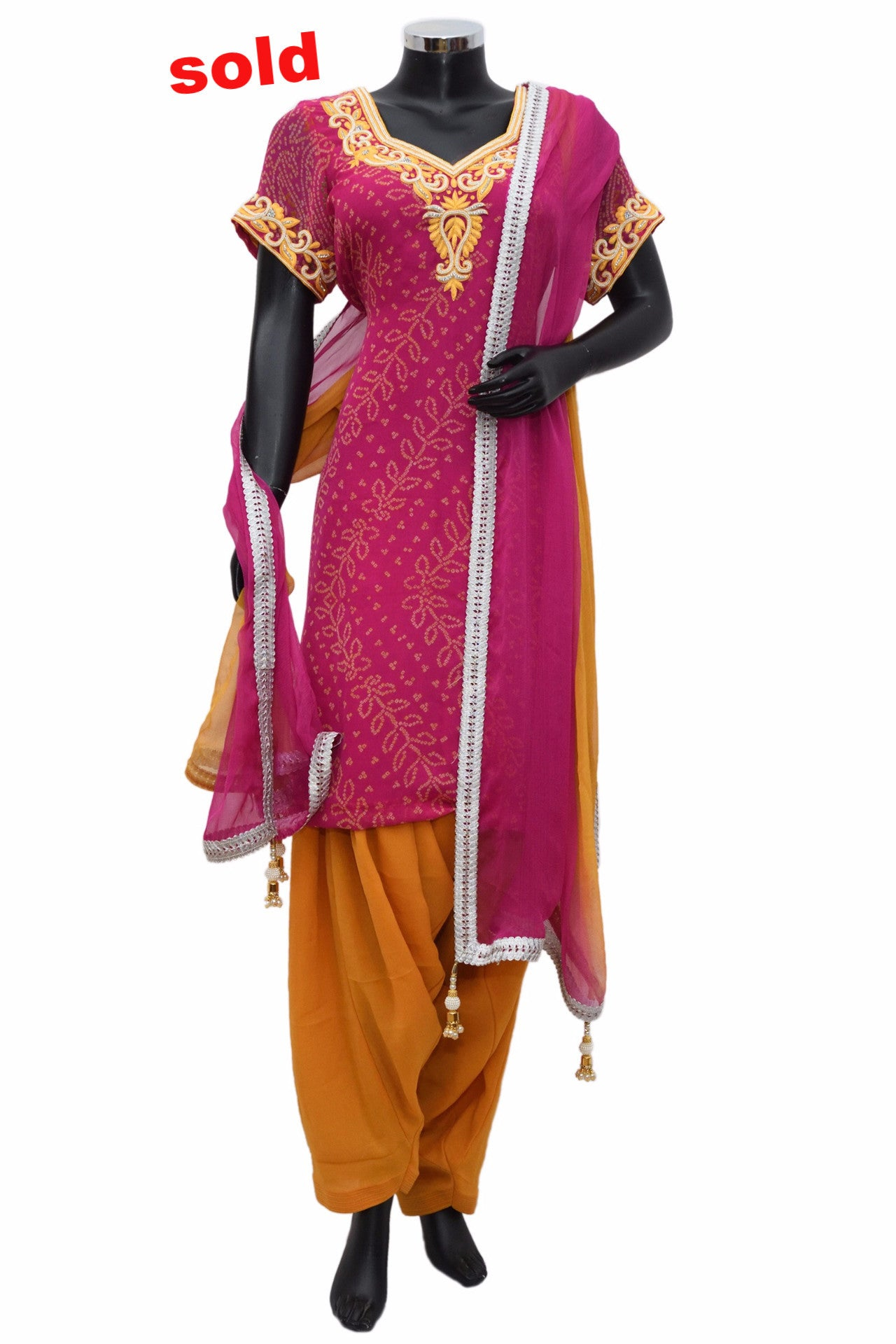 Bahendaj textured patiala in pink and mustard #fdn0463