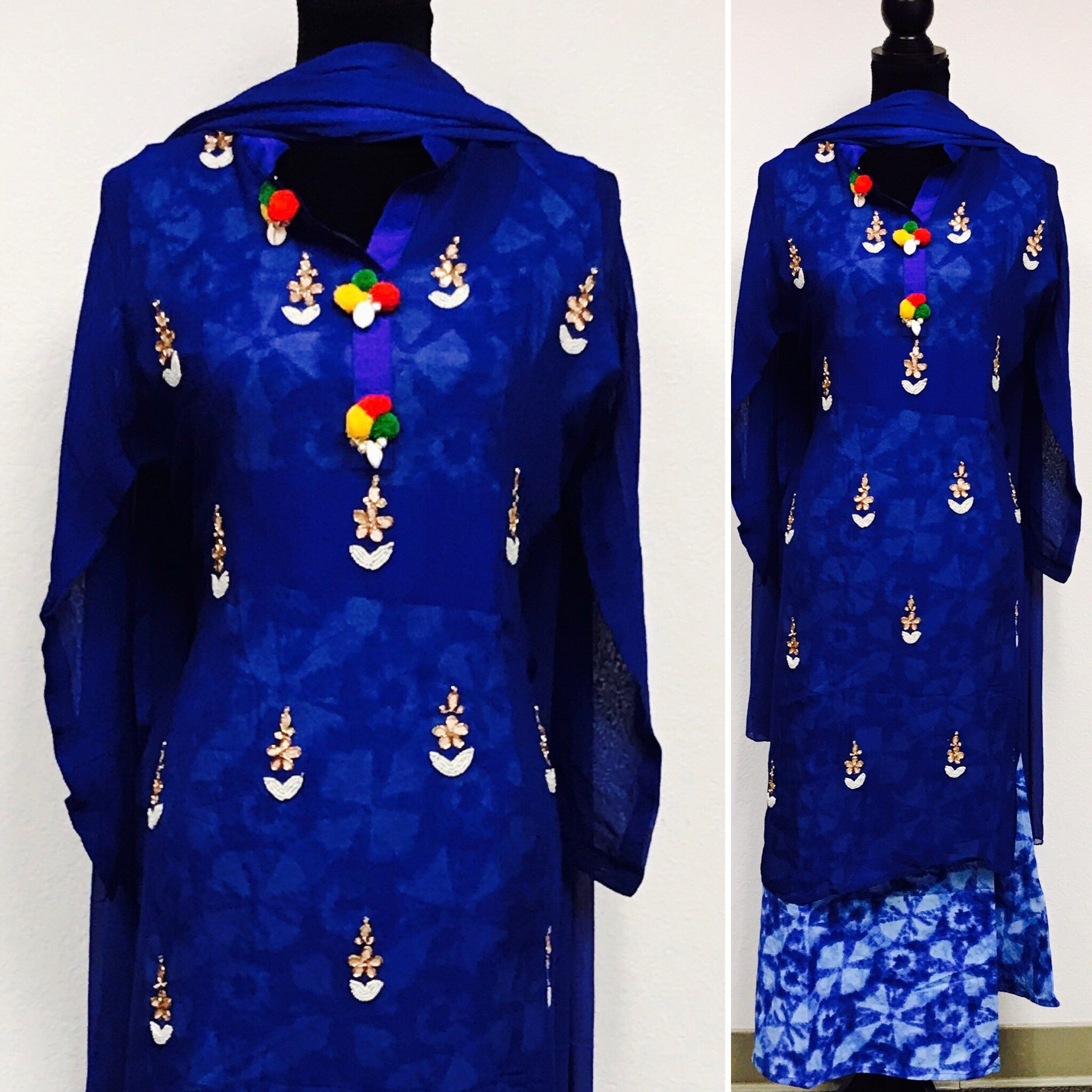 Blue color printed dress fdn0218