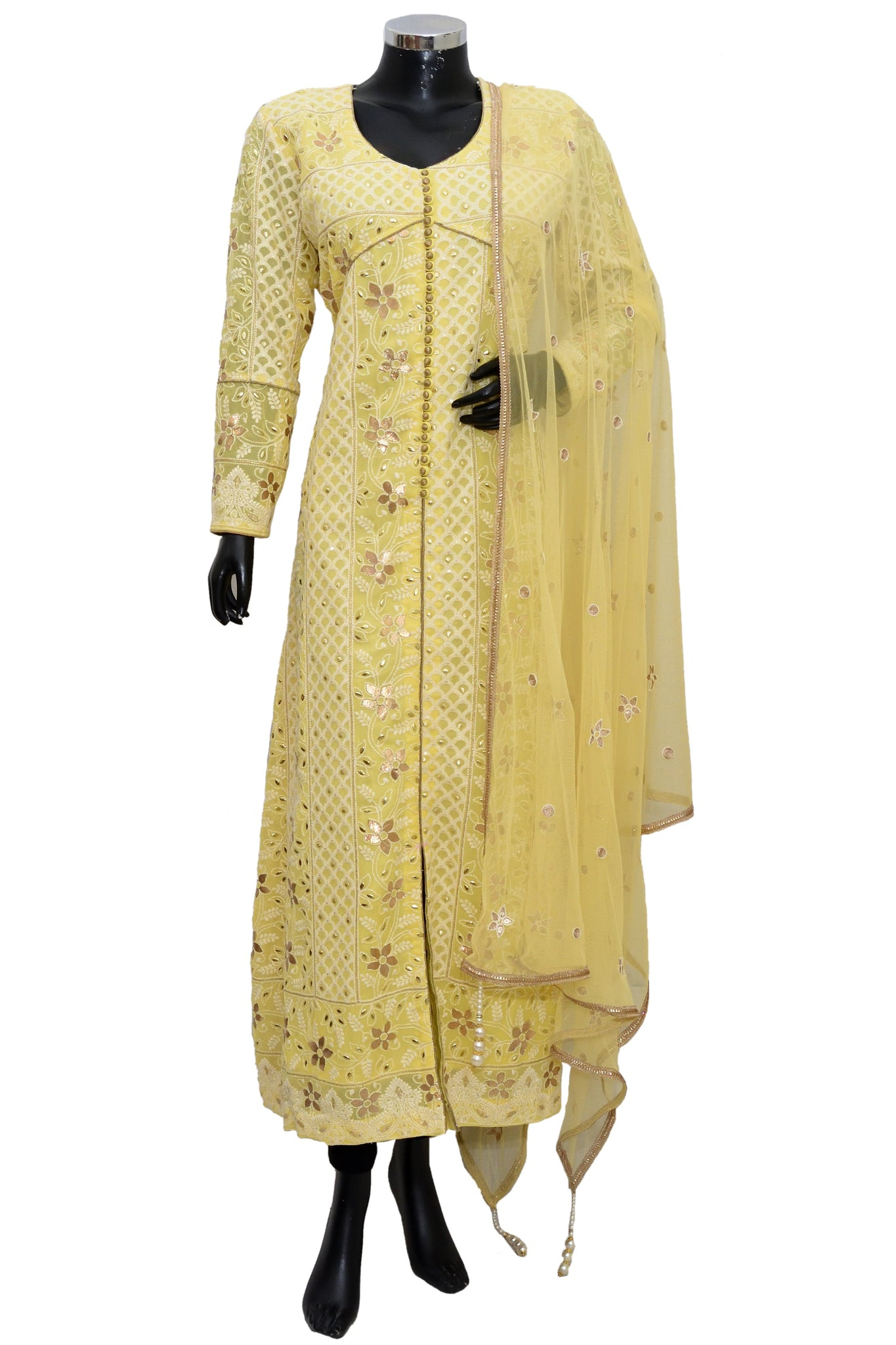 Chikankari long dress #fdn5027-571