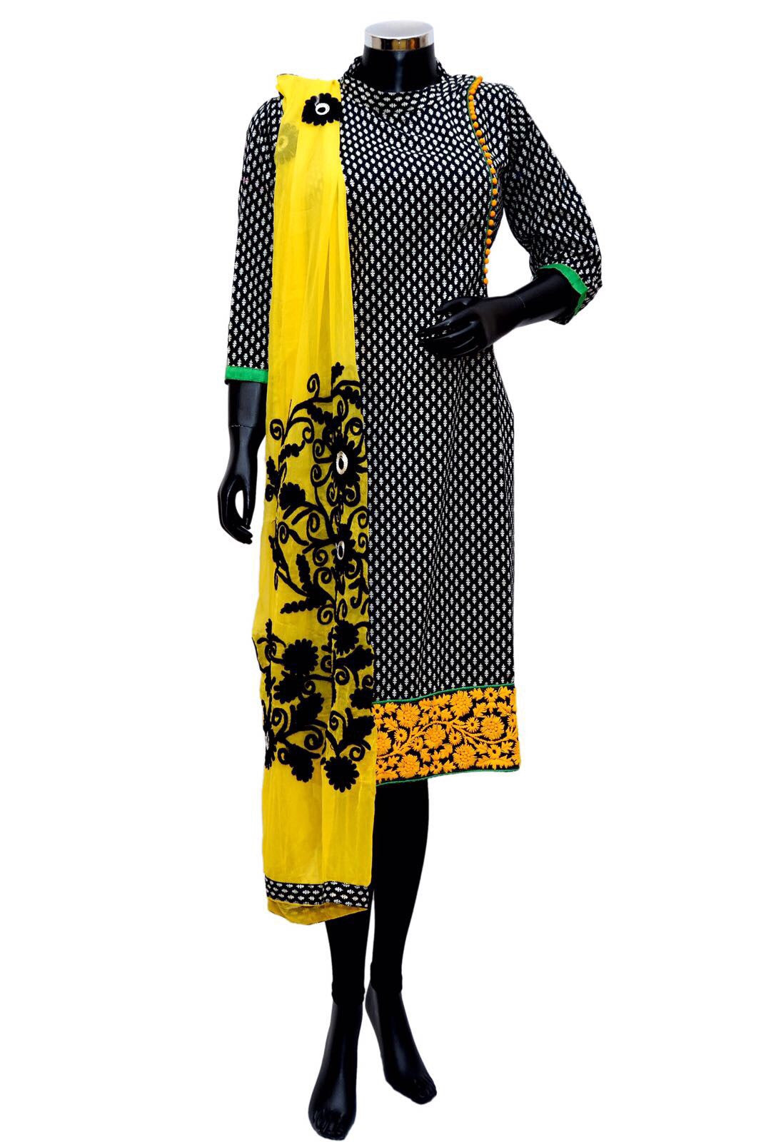 Embroidered kurta in yellow and black #fdn0309
