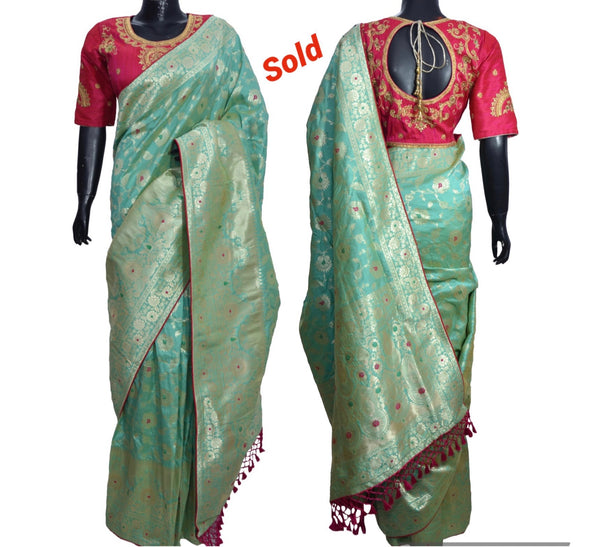 Silk Saree with embroidered blouse #fdn901190-301