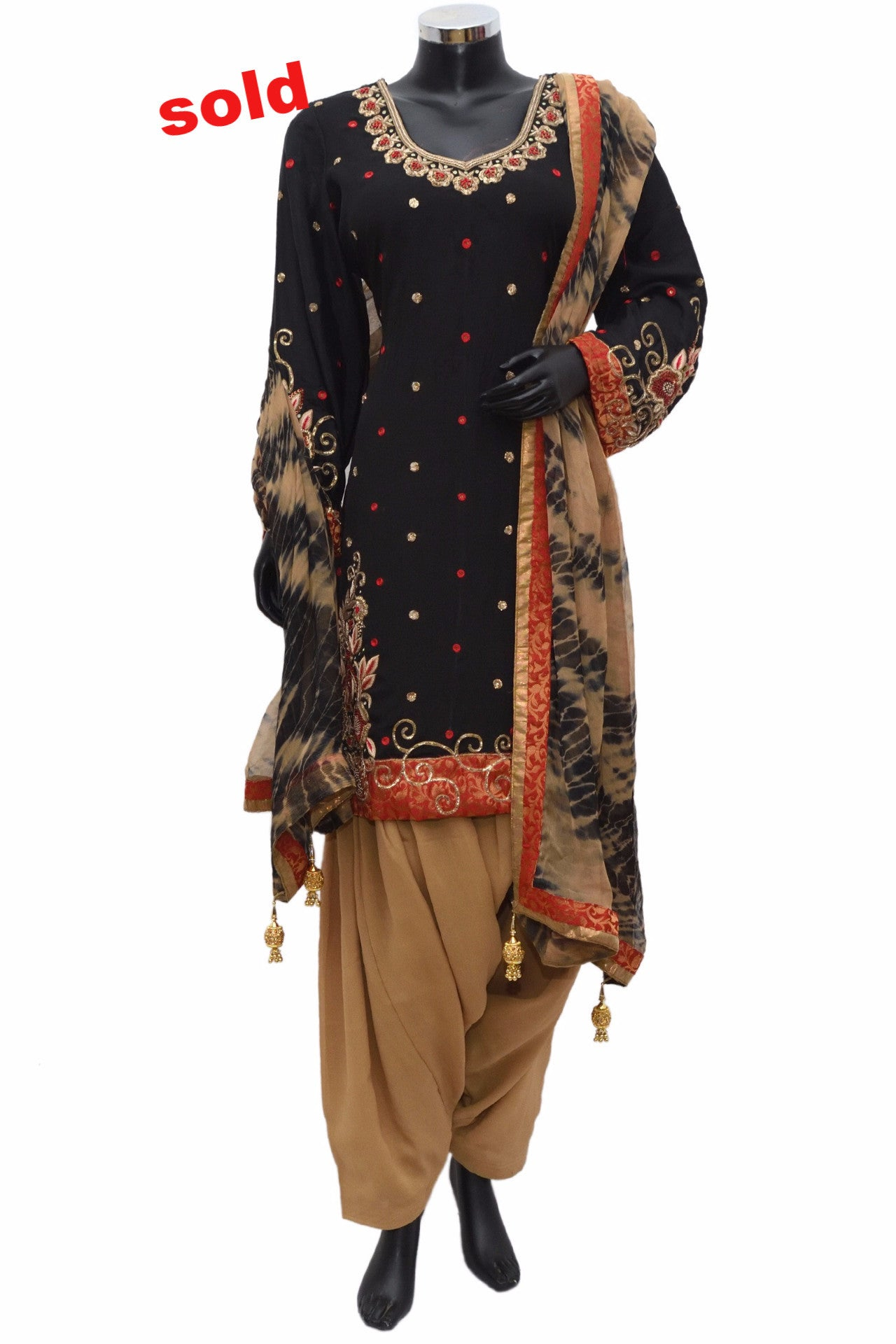 Gold and black combination patiala suit #fdn0461