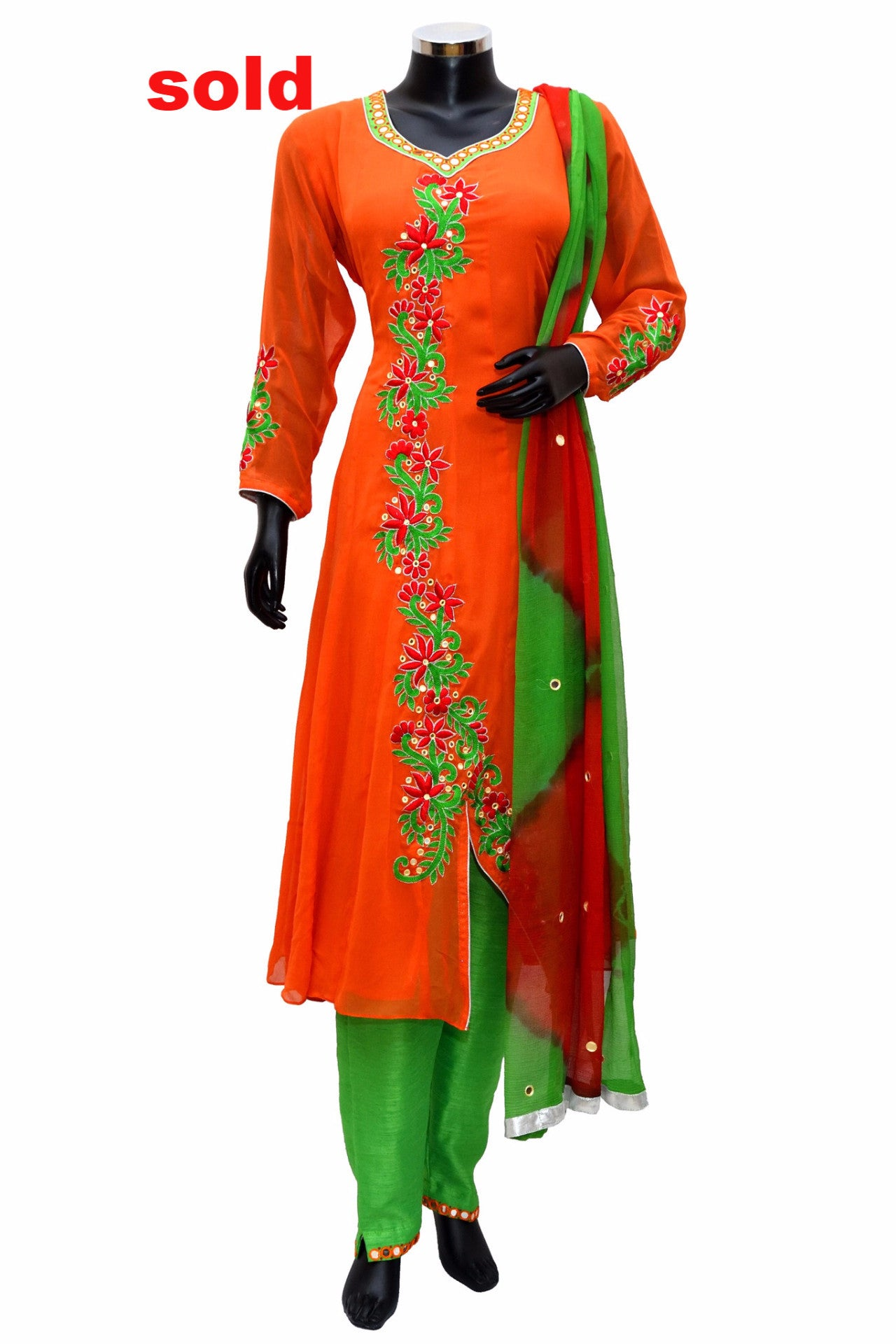 Orange and green dress # fdn0252