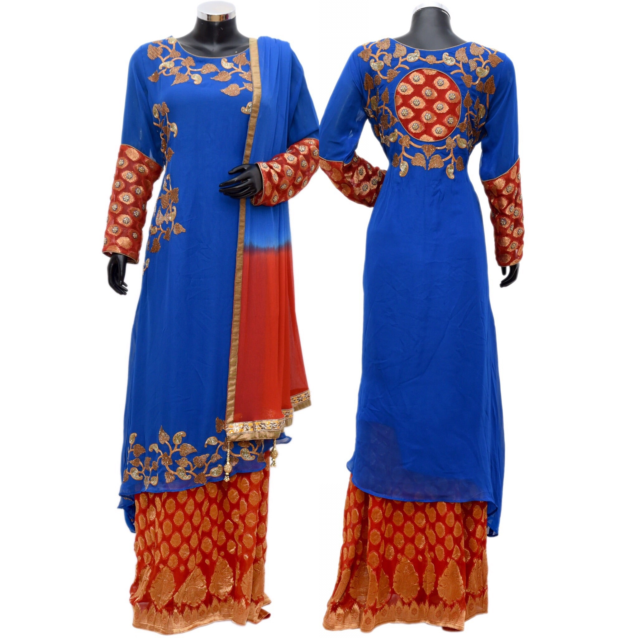 Embroidered kurta with brocade skirt #fdn768-871
