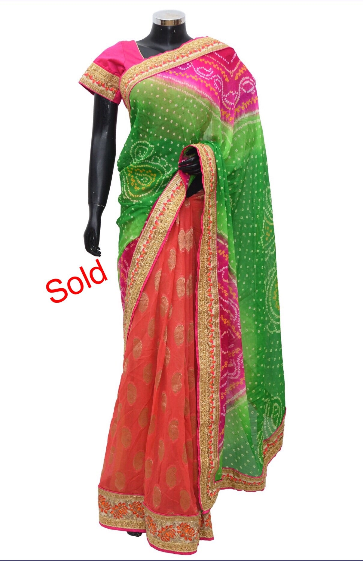 Bandheni embroidered saree Fdn1015-451