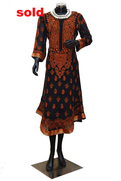 Rust color with brocade trim Chikankari kurta #fdn0235