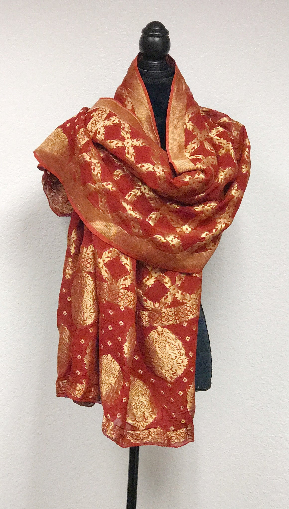 Brocade embroidered stole in dark red  # fdn0275