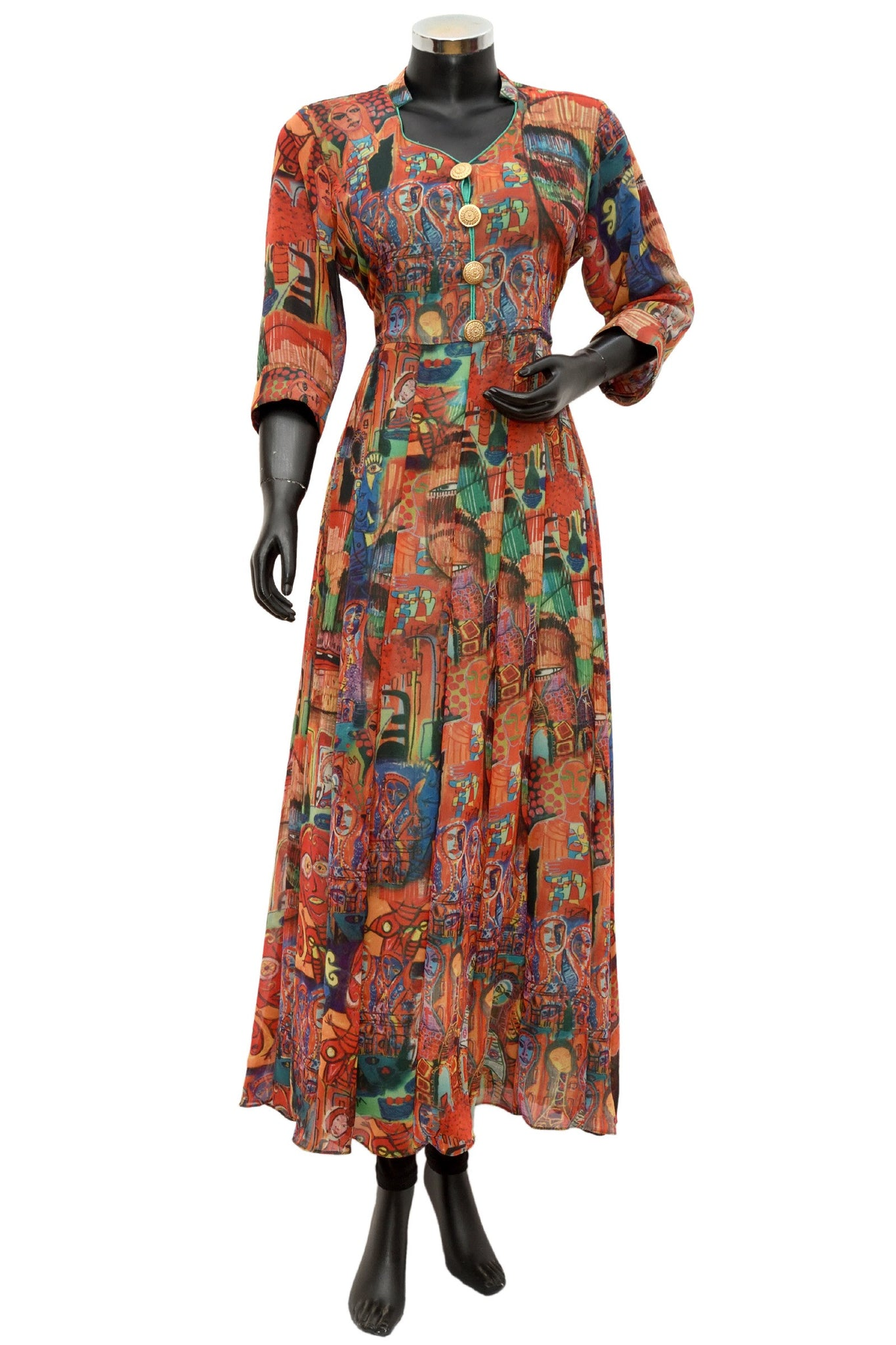 Long printed georgette dress#fdn648-141