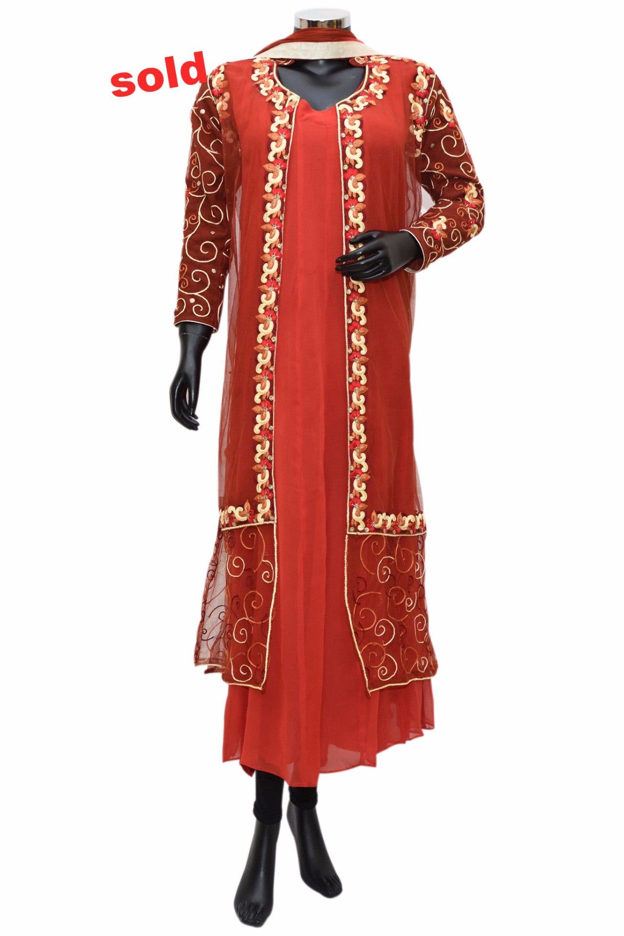 A lovely red embroidered dress# fdn0294