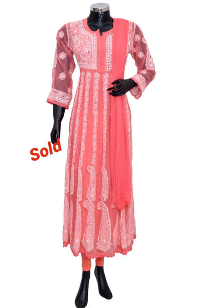 Chikankari long dress #fdn901157-201