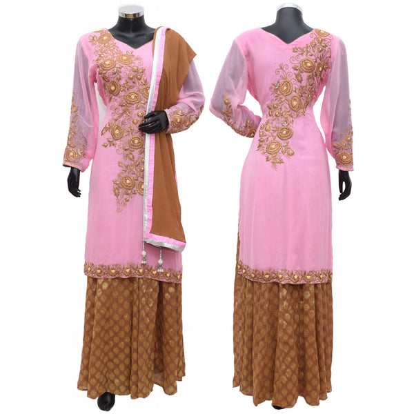 Embroidered kurta with brocade skirt #fdn772-791