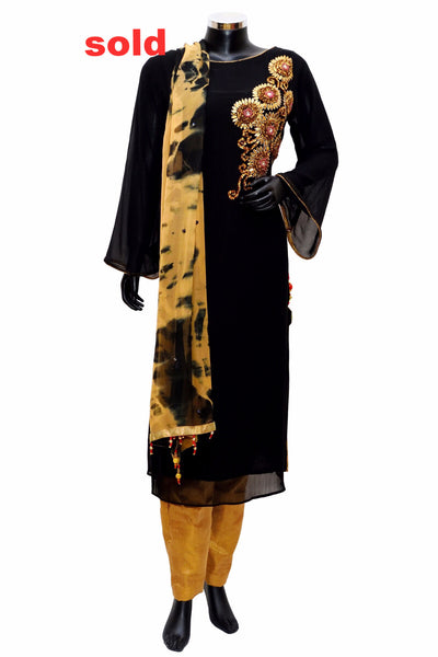 Black and golden embroidered dress# fdn0248