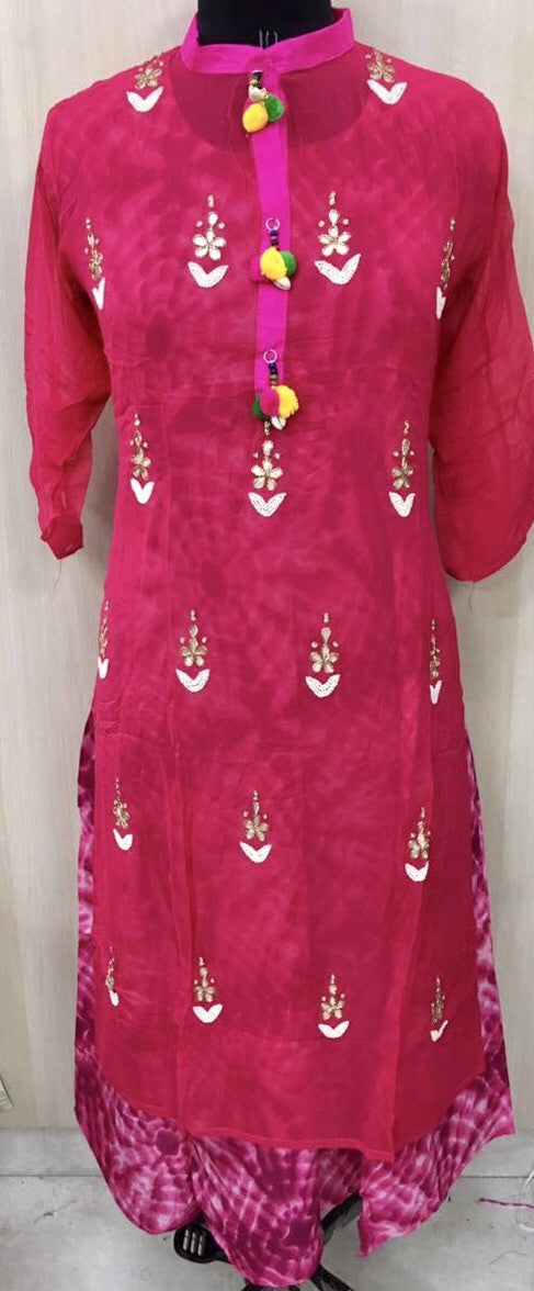 Pink color dress with bead embroidered kurta #fdn0244