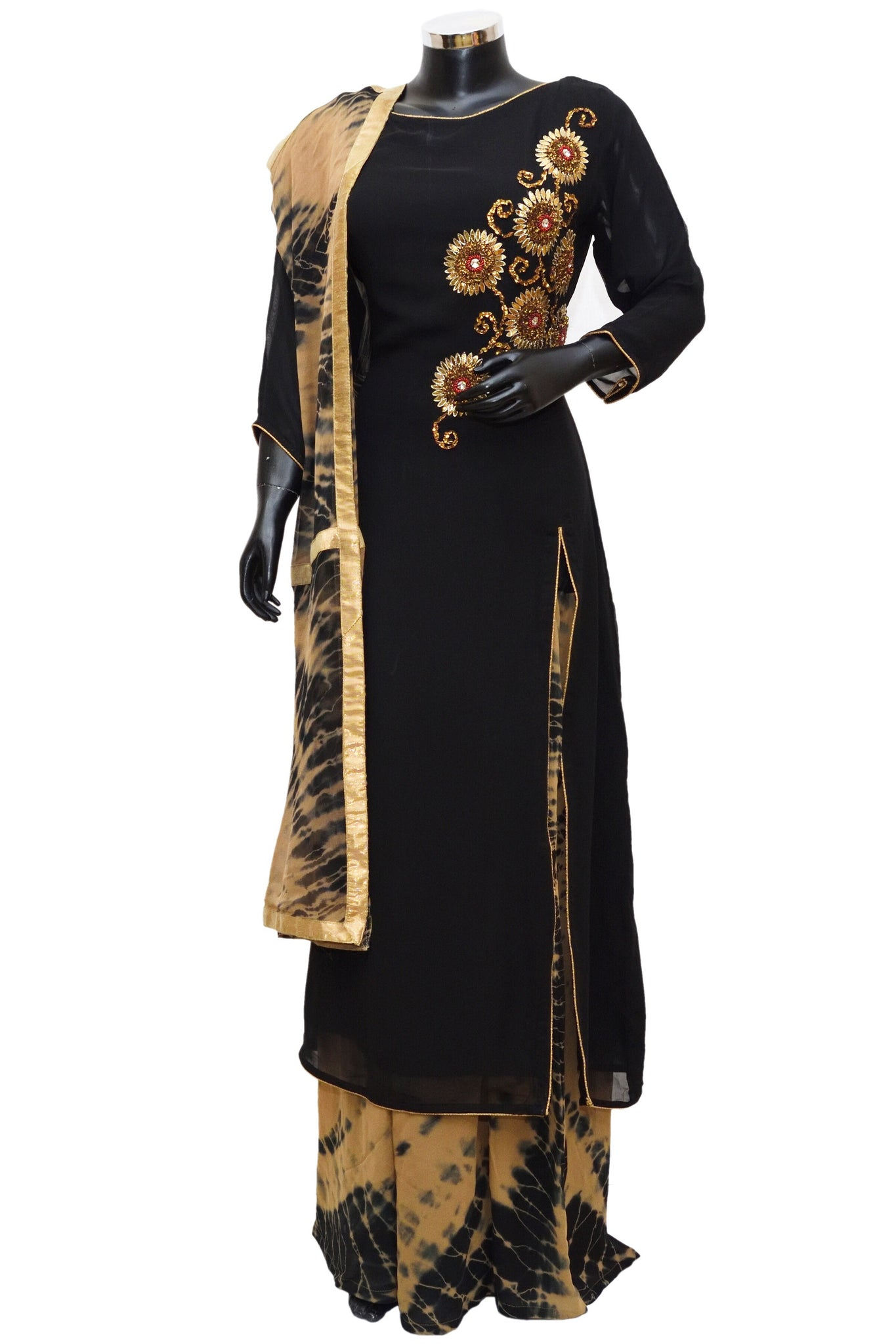 Black embroidered sharara dress #fdn0410