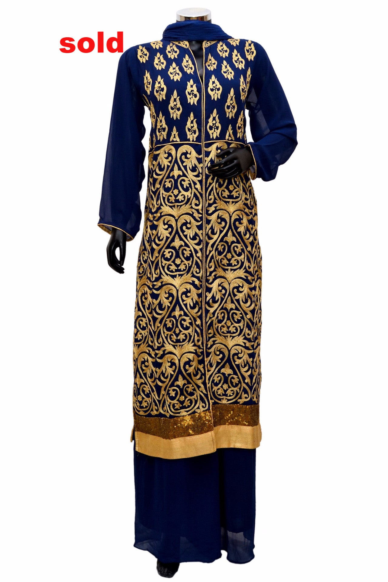 Blue heavy embroidered dress#fdn0250