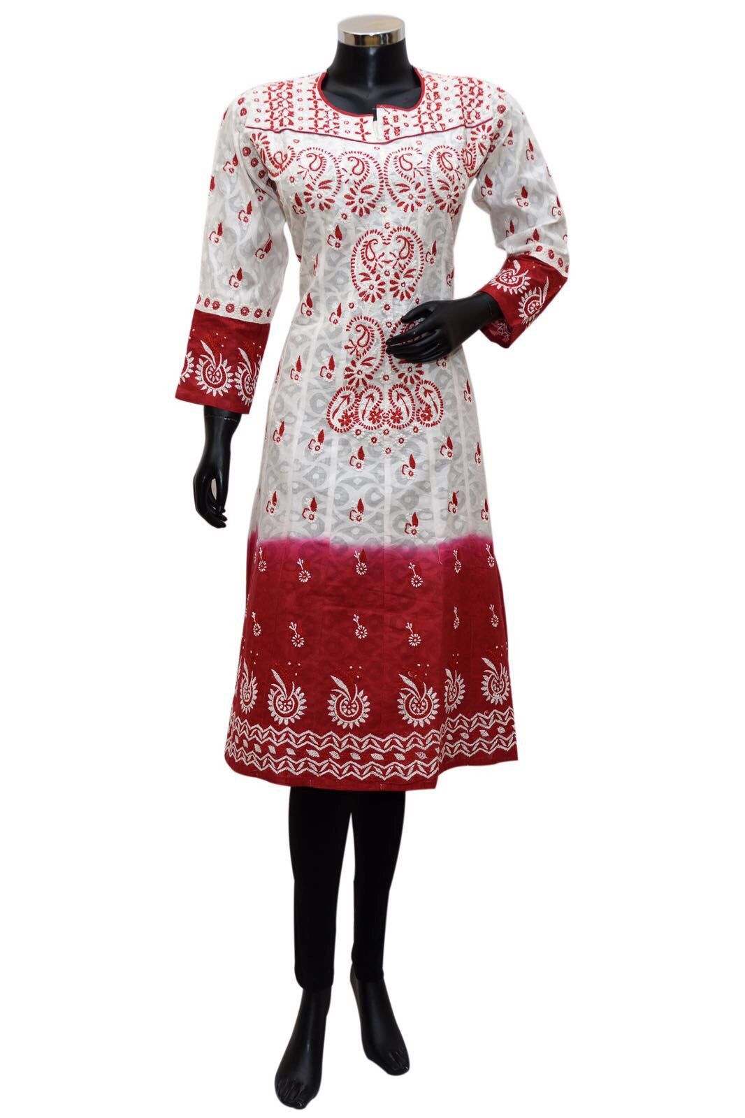 Red and white shaded chikankari kurta #fdn0401