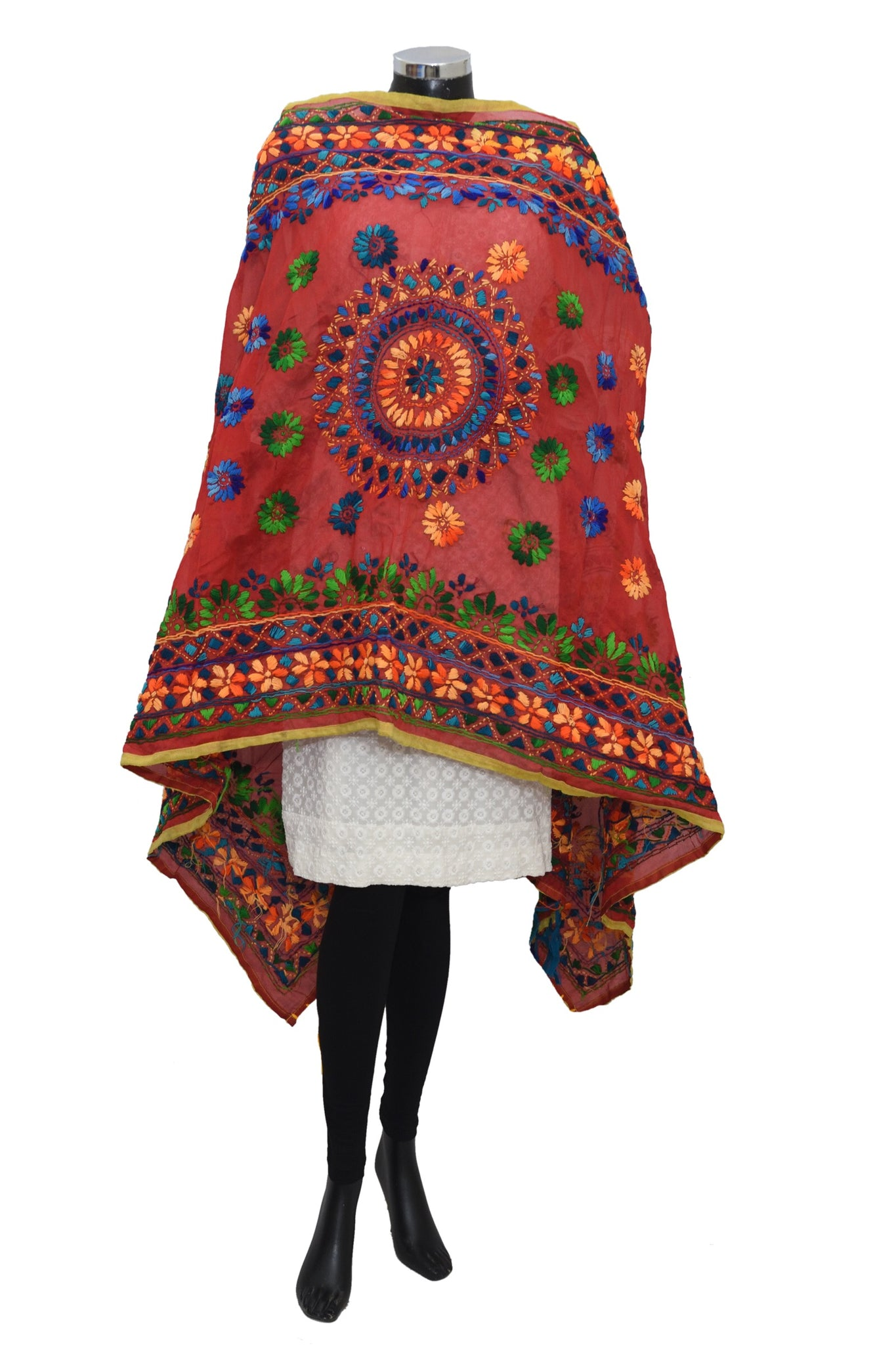 Embroidered colorful dupatta #fdn1760-111