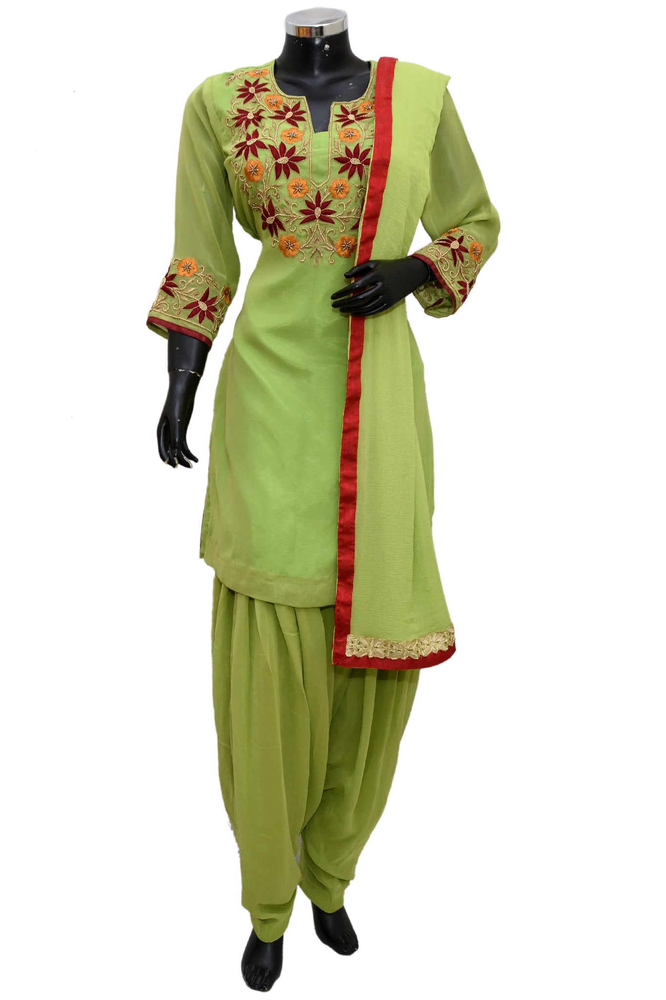 Green embroidered patiala set #fdn1167-321