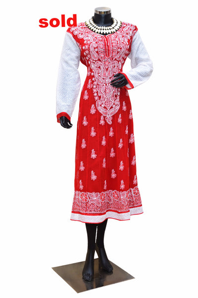 Red and white Chikankari kurta # fdn0231