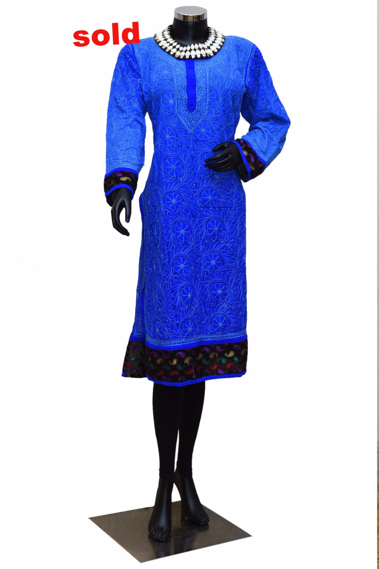 Bright blue with brocade border Chikankari kurta #fdn0237