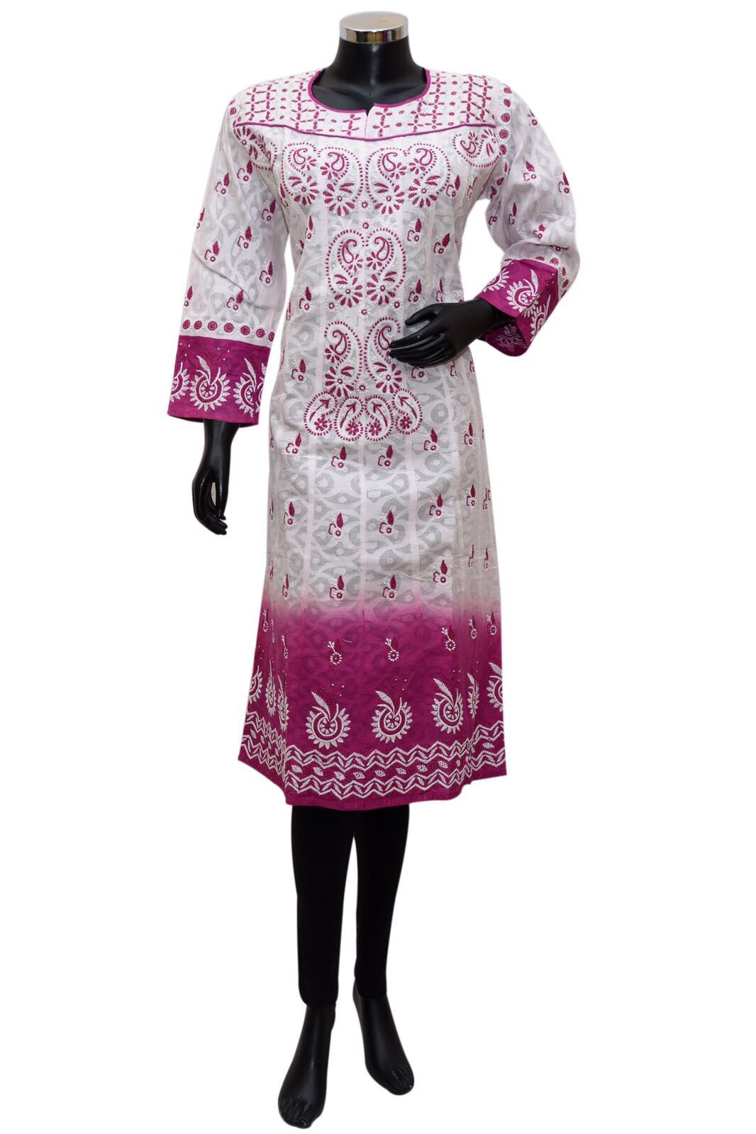 Shaded white and pink chikankari kurta # fdn0398 / 18