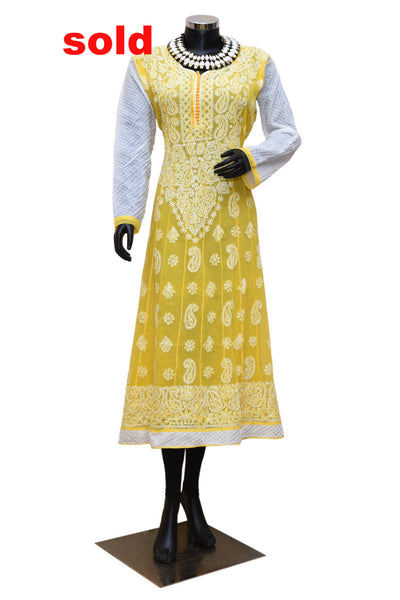 Yellow and white Chikankari kurta #fdn0233