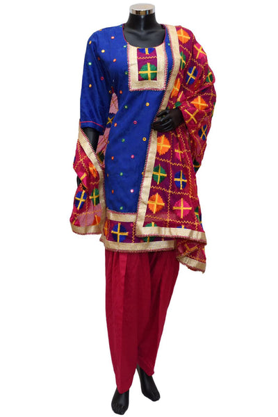 Phulkari suit in semi patiala # fdn0425