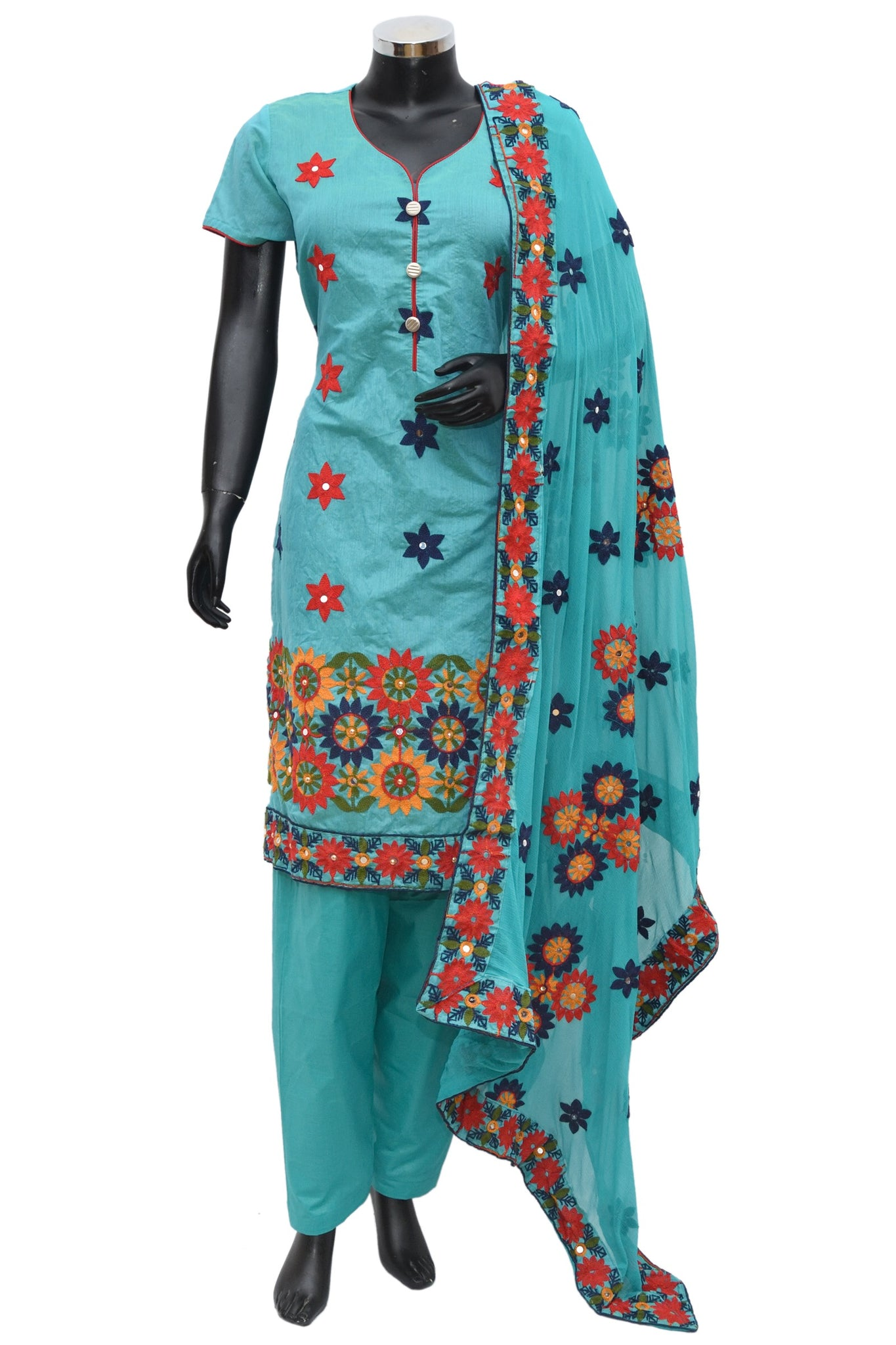 Embroidered silk full suit # fdn740-191