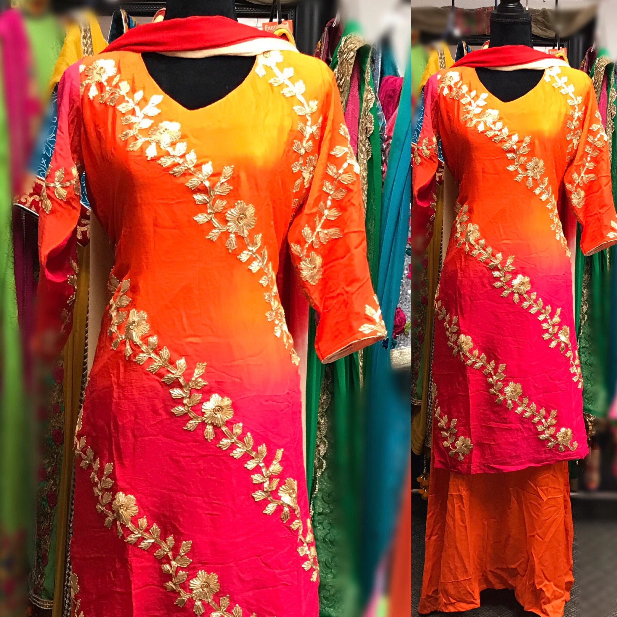 Long dress in pink and orange # fdn0202
