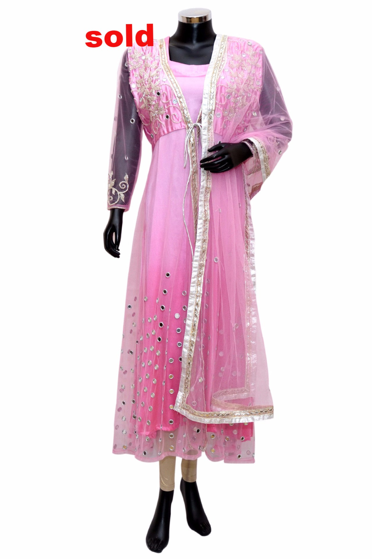 Pink net embroidered suit #fdn0289