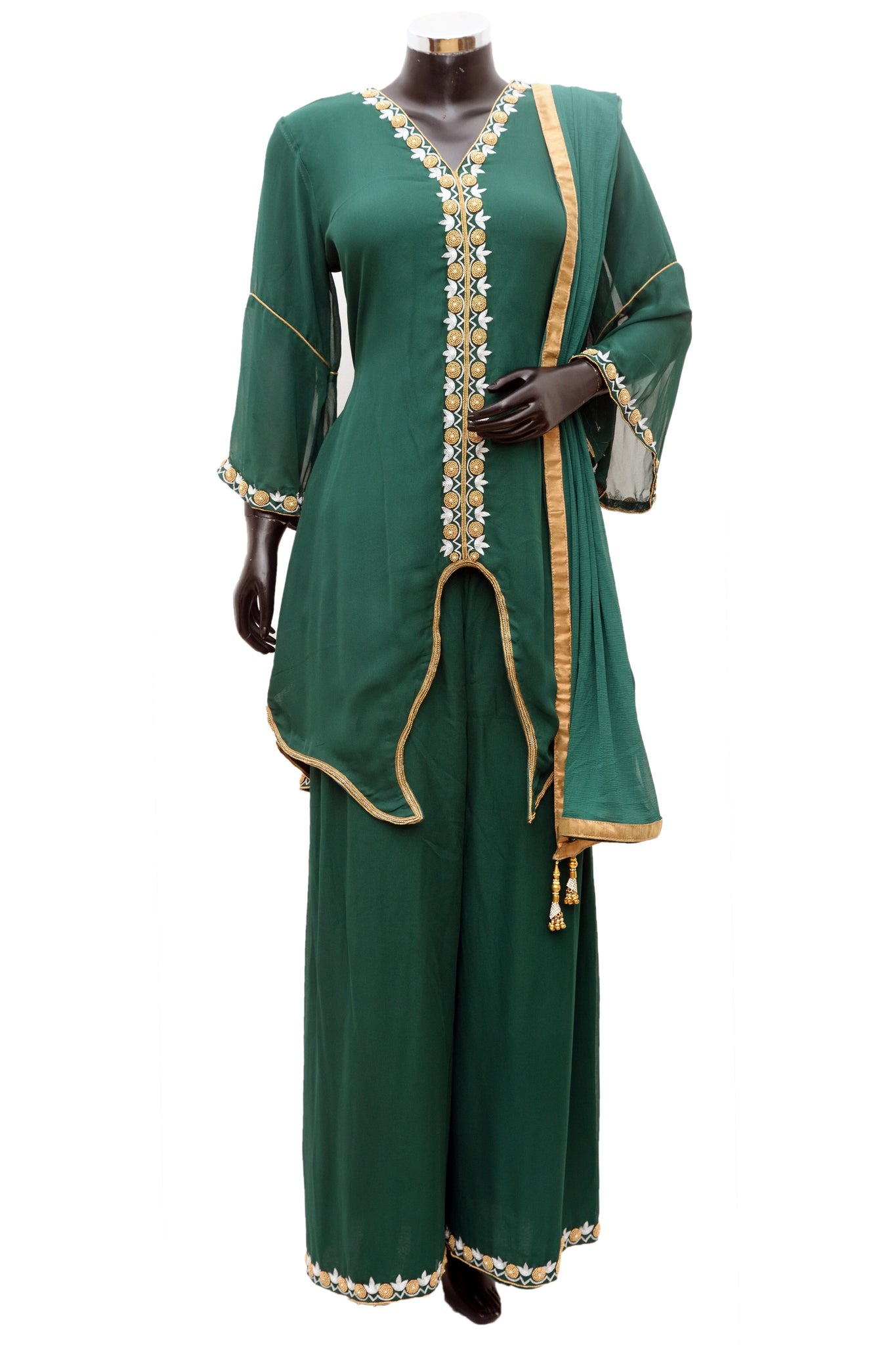 Green color embroidered palazo set #fdn777-481