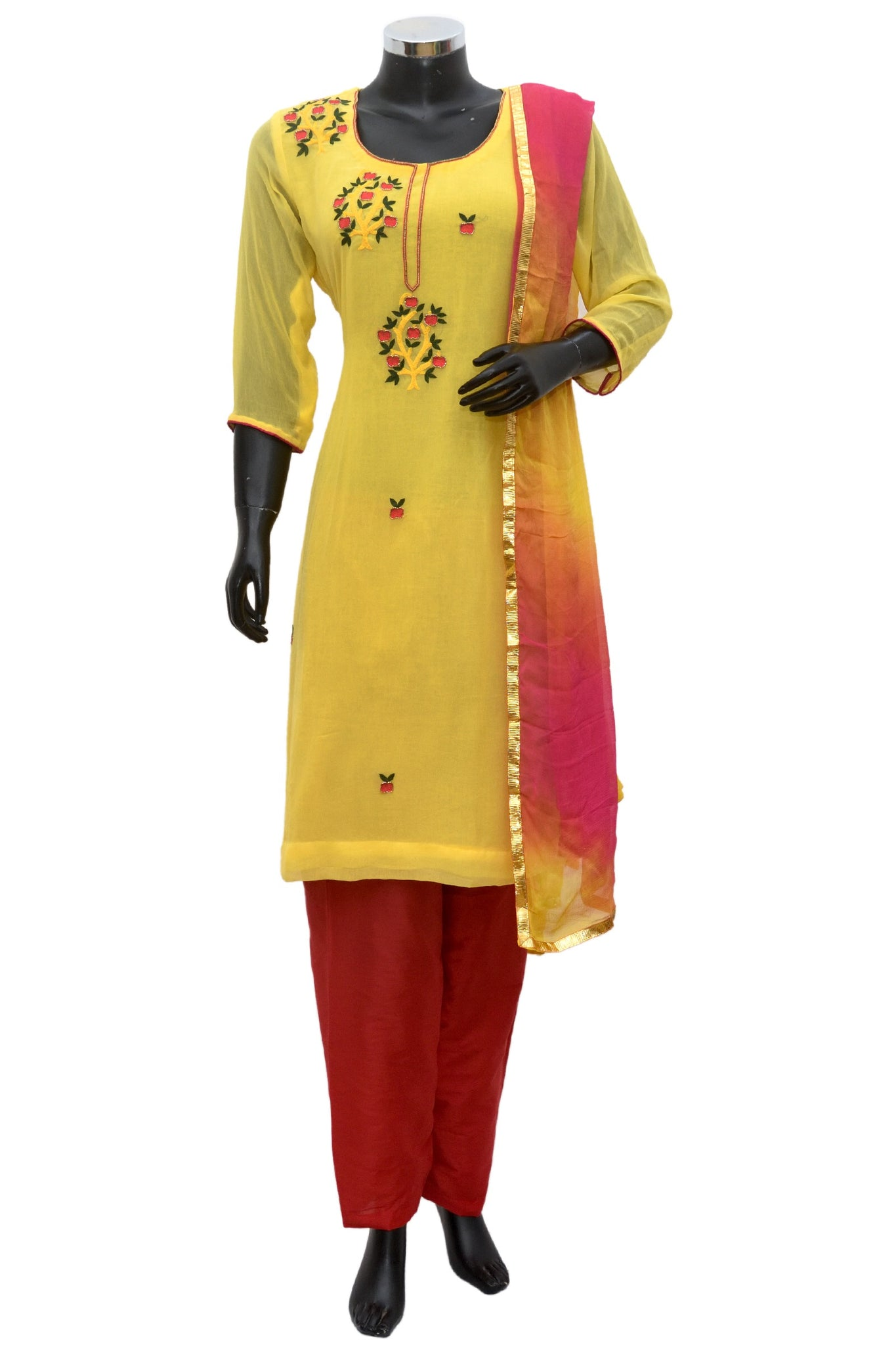 A yellow embroidered full set #fdn846-251
